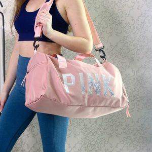 Handbags - NEW Pink Duffle Bag Bling Lettering Crossbody Tote